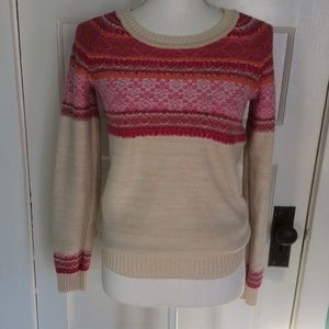 Mossimo Pink & Cream Nordic Inspired Sweater, SP
